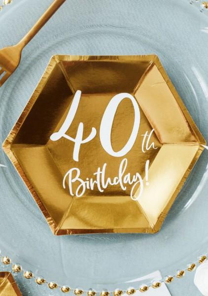 6 piatti 40 ° compleanno lucido 20x17 cm