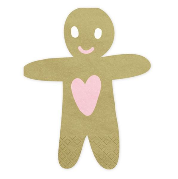 20 Gingerbread Men Napkins 16cm