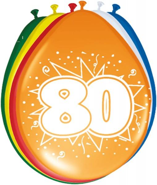 8 Ballons Geburtstagskracher Zahl 80