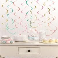 12 Bunte Candy Swirls Spiralhänger 55cm