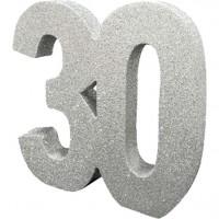 Tischdeko glitzernde Zahl 30 silber 20cm