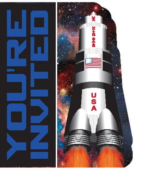 8 Weltraum Shuttle Einladungskarten