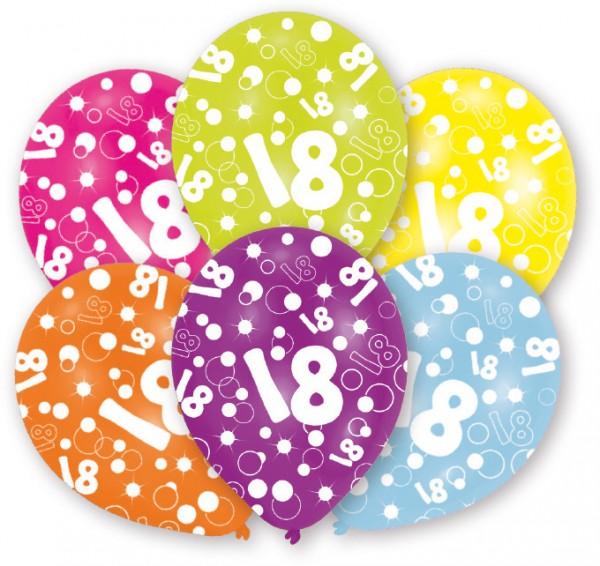 6 ballons Bulles 18ème anniversaire 27,5 cm