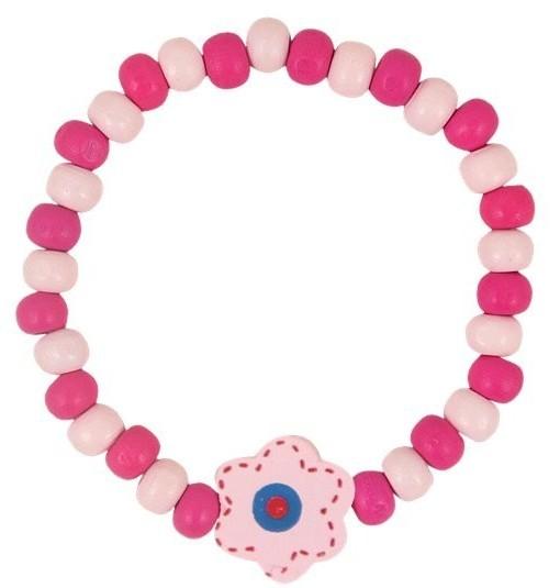 1 różowa bransoletka z drewnianych koralików gratis