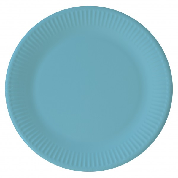 8 eco paper plates Paganini turquoise 23cm