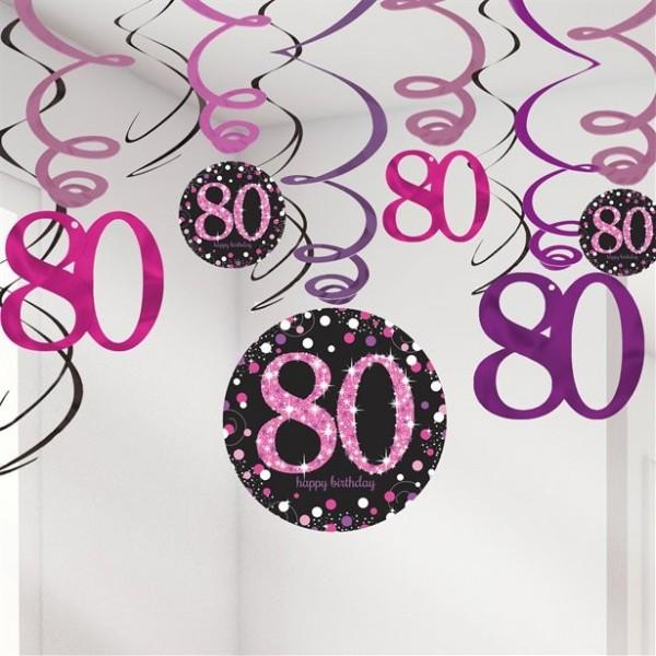 12 colgadores de espiral rosa 80 cumpleaños 61cm
