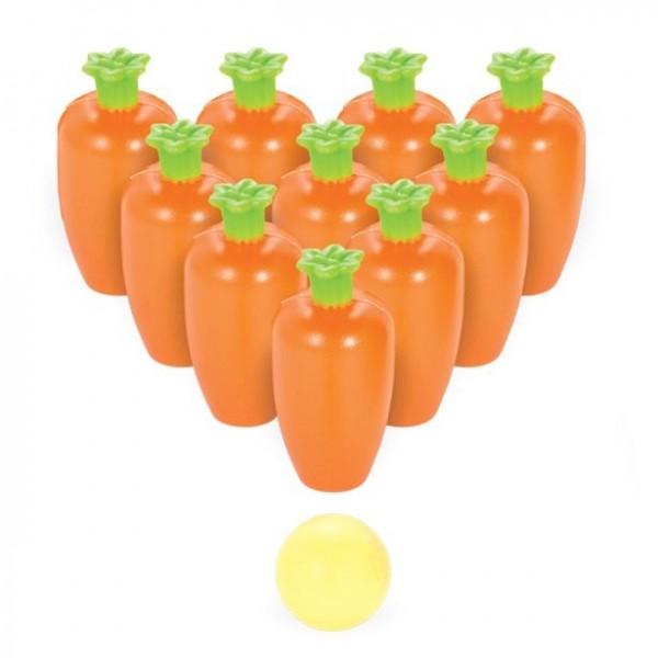 Jeu de bowling aux carottes de Pâques
