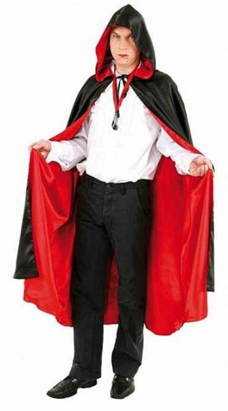 Cape à capuche réversible noire et rouge