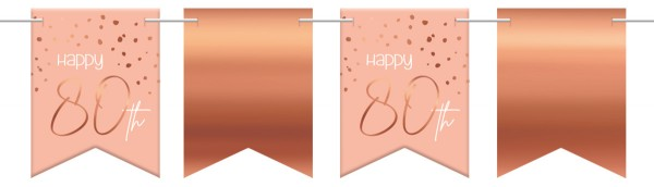 80. Geburtstag Wimpelkette 6m Elegant blush roségold