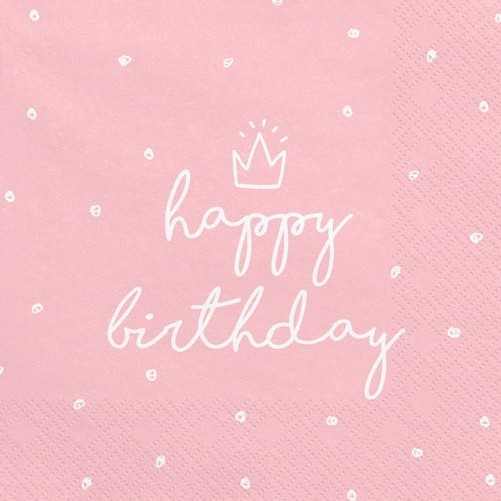 20 My Birthday napkins pink 33cm