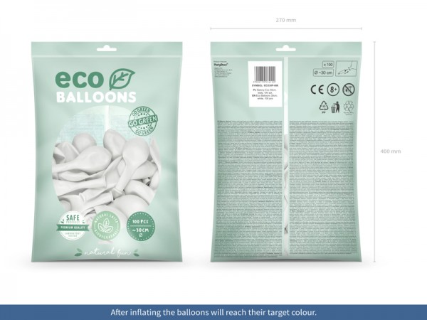 100 Eco Pastell Ballons weiß 30cm