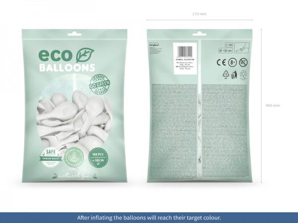 100 globos pastel eco blanco 30cm