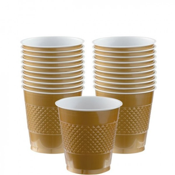 20 gold plastic cups 266ml