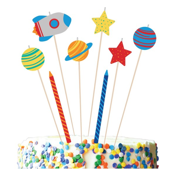 8 space party cake candles