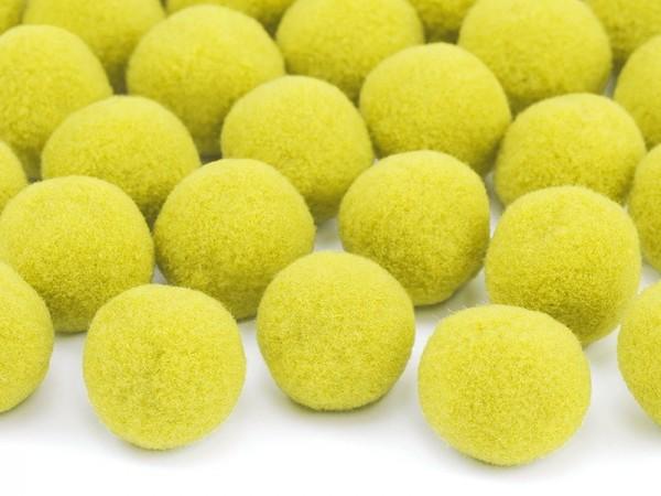 20 plush pompoms yellow 2cm