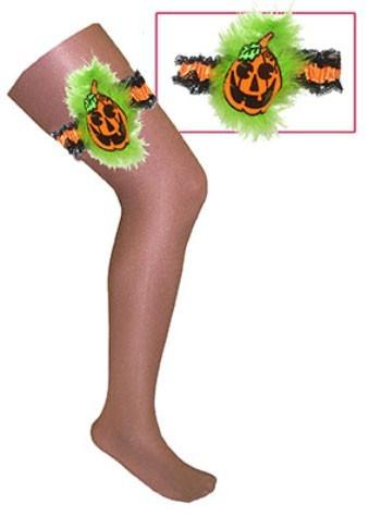 Halloween Strumpfband Mit Kürbismotiv