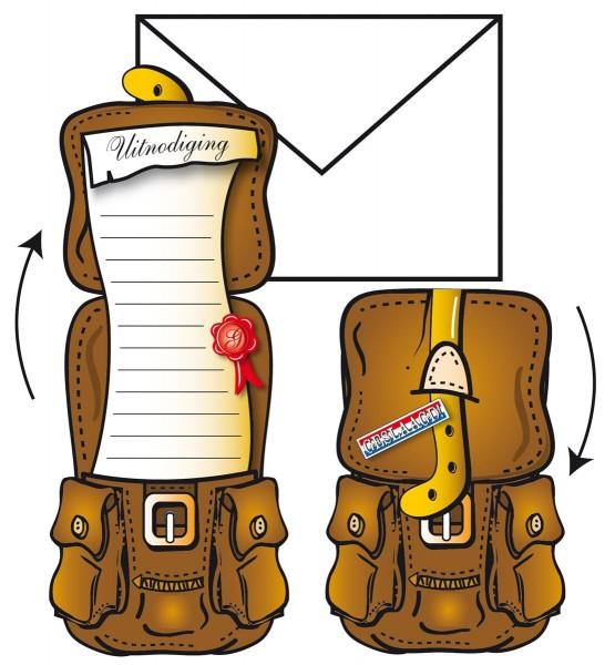 8 Einladungskarten Reise-Rucksack