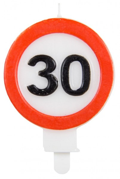 Traffic sign 30 cake candle 6cm