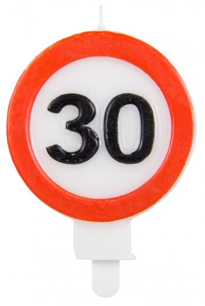 Señal de tráfico 30 vela pastel 6cm
