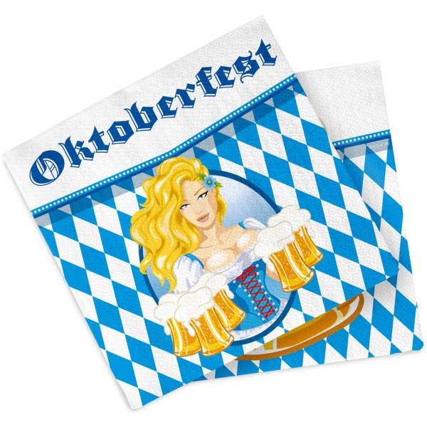20 serviettes Oktoberfest Bier Liesl 33cm