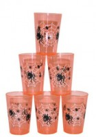 6 Spinnennetz Party Becher Orange
