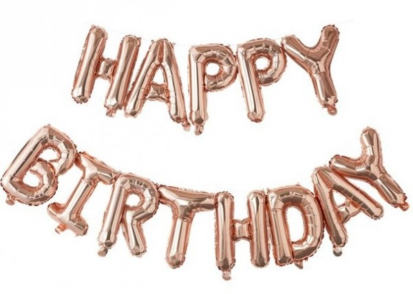 Ballon aluminium joyeux anniversaire or rose 5m x 41cm