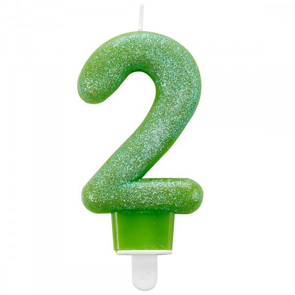 Glitzer Zahlenkerze 2 grün