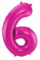 XXL Zahlenballon 6 magenta 86cm