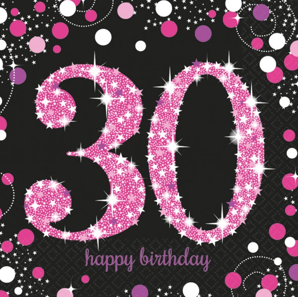 30.Geburtstag Pink Sparkling Happy Birthday Serviette Be Glamorous 16er Set 1