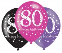 6 Pink 80th Birthday Ballons 27,5cm
