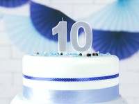 Number 0 cake candle silver gloss 7cm