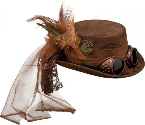 Sombrero de mujer steampunk con gafas