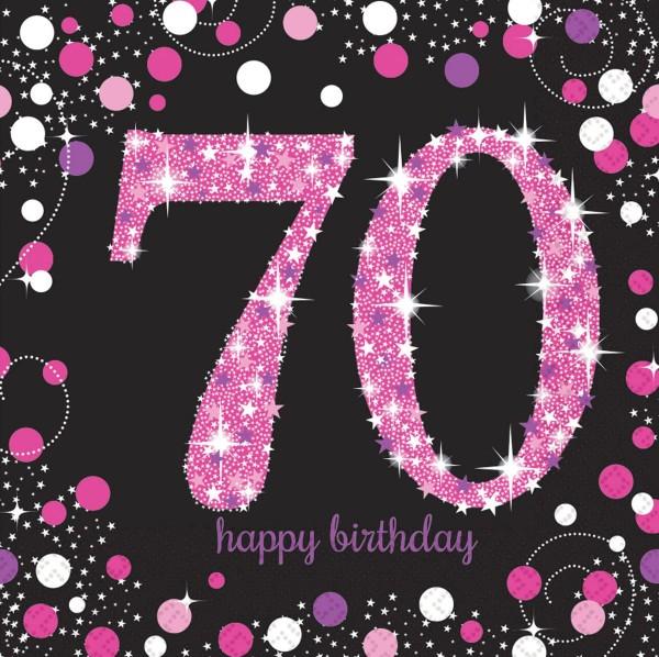16 Pink 70th Birthday Servietten 33cm