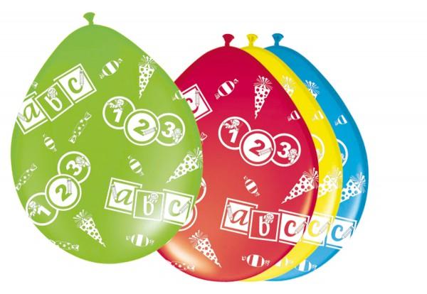 8 ballonnen 123 ABC 30cm