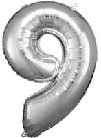 Silberner Zahl 9 Folienballon 86cm