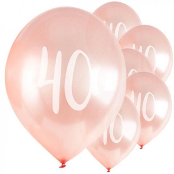 5 globos de látex de oro rosa 40 cumpleaños