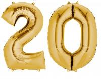 Folienballon Zahl 20 gold metallic 88cm