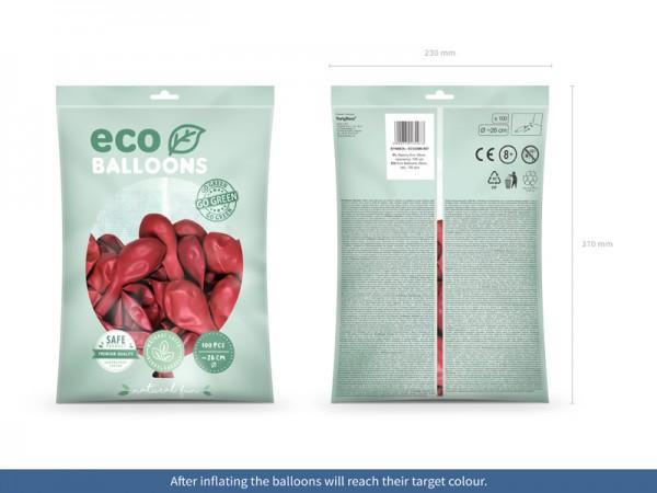 100 globos metalizados Eco rojo 26cm