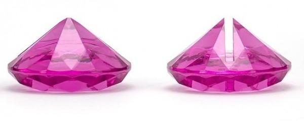 10 Diamanten Kartenhalter fuchsia 4cm