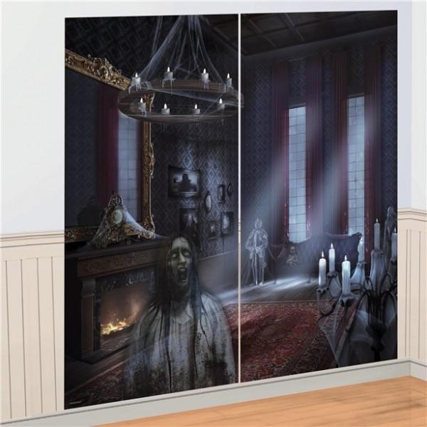 Wanddeko Spukhaus Set 82cm x 1,65m