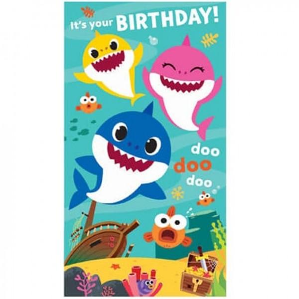 Baby Shark Geburtstagskarte mit Stickern