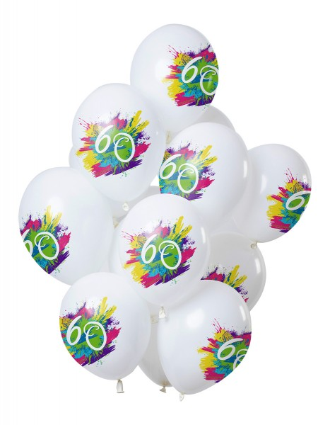 60.Geburtstag 12 Latexballons Color Splash