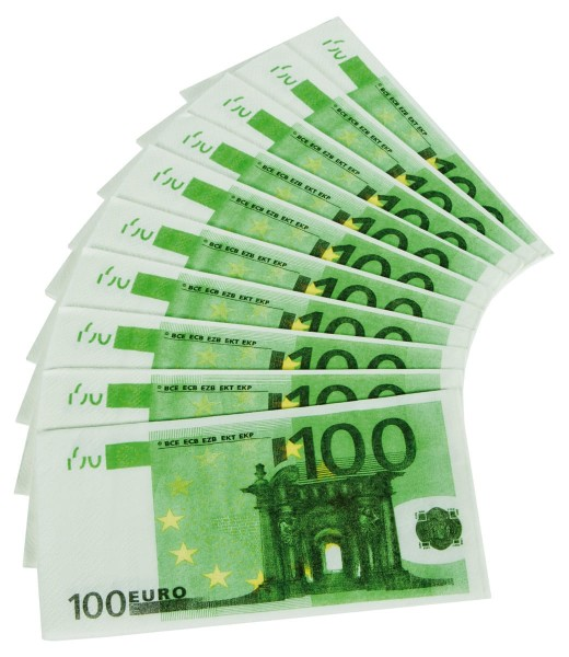 Serviettes en billets de 10 cents euros
