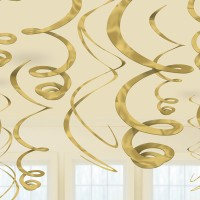 12 Spiral Streamer Decorations Gold 55.8cm
