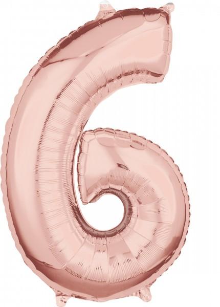 Globo número 6 de lámina de oro rosa 66cm