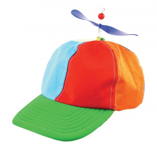 Colorful peaked cap with propeller