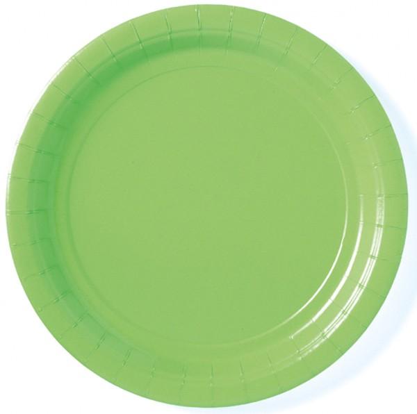 8 platos de papel Partytime verde kiwi
