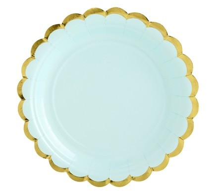 6 Candy Party Paper Plates Mint 18cm