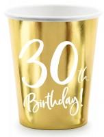 6 Glossy 30th Birthday Becher 220ml