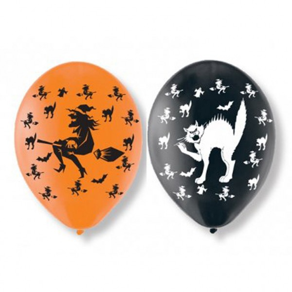 6 Halloween balloner hekse og katte 27,5 cm
